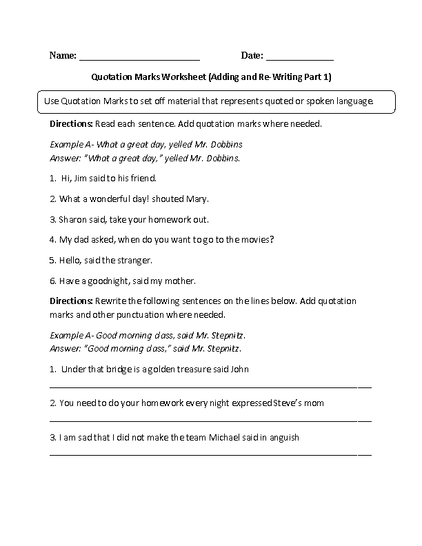 Printables Quotation Marks Worksheets englishlinx com quotation marks worksheets worksheet
