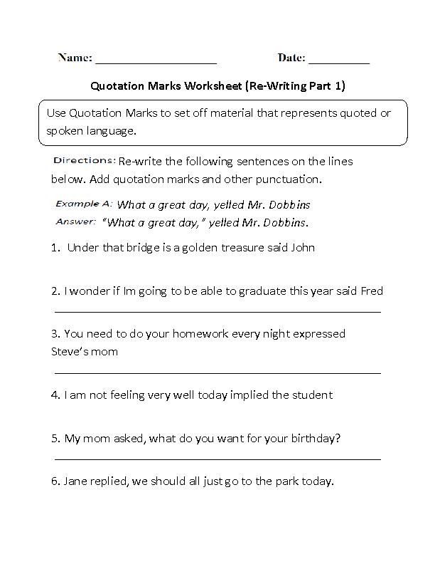 Englishlinx Quotation Marks Worksheets. Rewriting Quotation Marks Worksheet. Third Grade. Quotation Marks Worksheet Third Grade At Clickcart.co