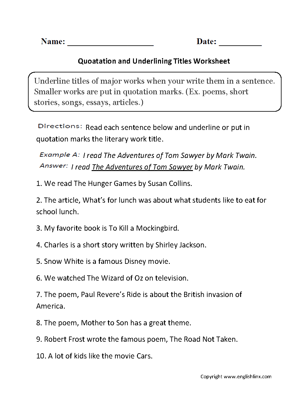 worksheet Quotations Worksheet grammar mechanics worksheets italics and underlining quotation titles worksheets