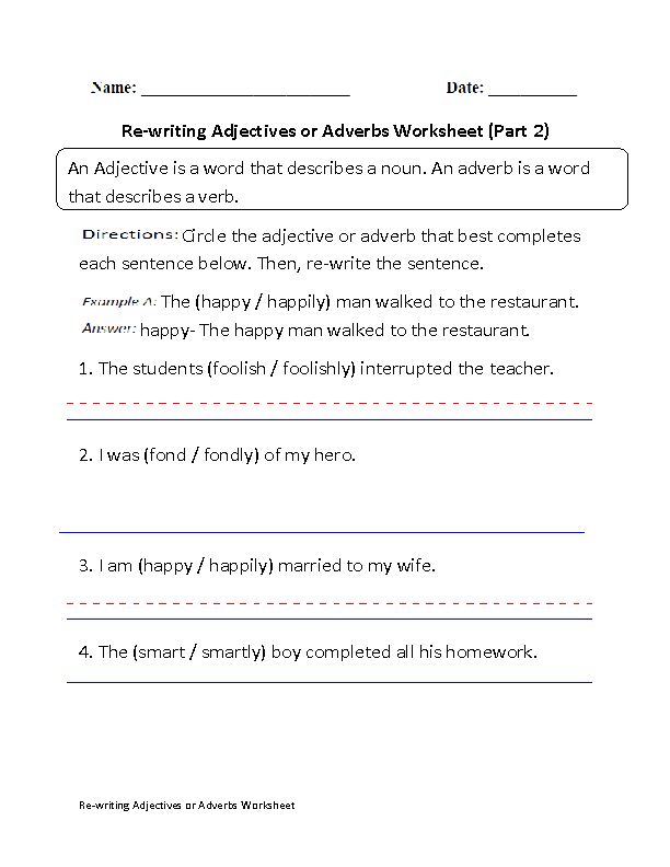 Adjectives Worksheets Adjectives Or Adverbs Worksheets