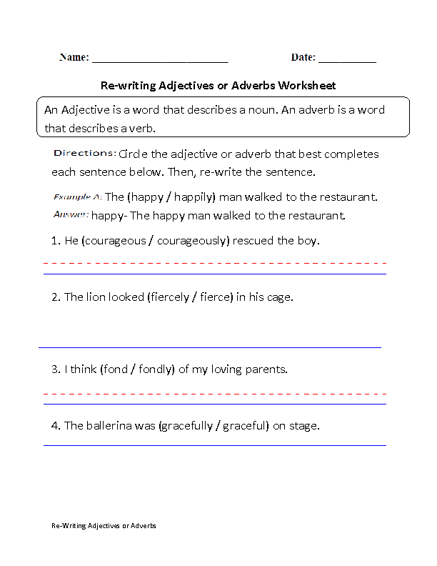 Adjectives Worksheets – Adverbs Worksheet