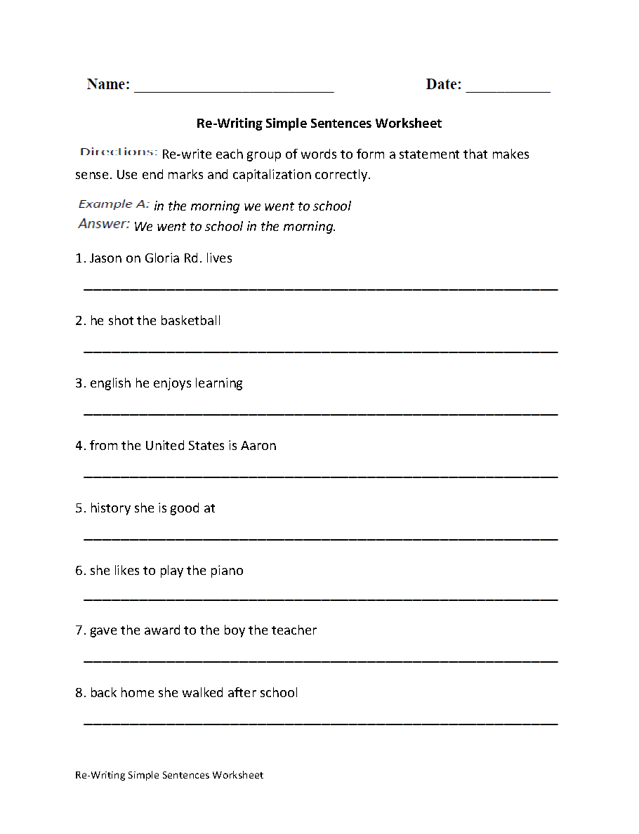 Workbooks writing worksheets for 6th grade : Sentences Worksheets | Simple Sentences Worksheets