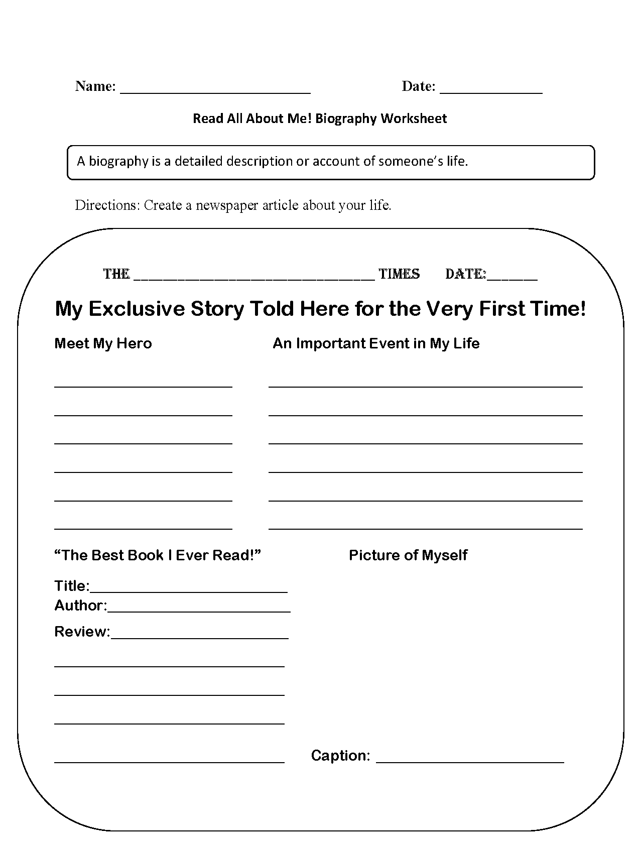 Back To School Worksheets Read All About Me Back To School Worksheets