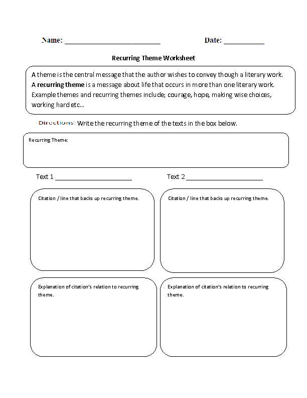 Recurring Theme Worksheet