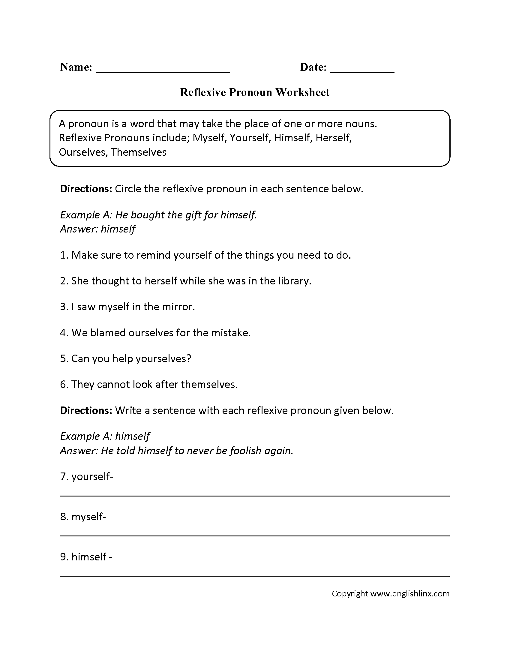 worksheet Reflexive Pronoun Worksheets parts speech worksheets pronoun intermediate worksheets