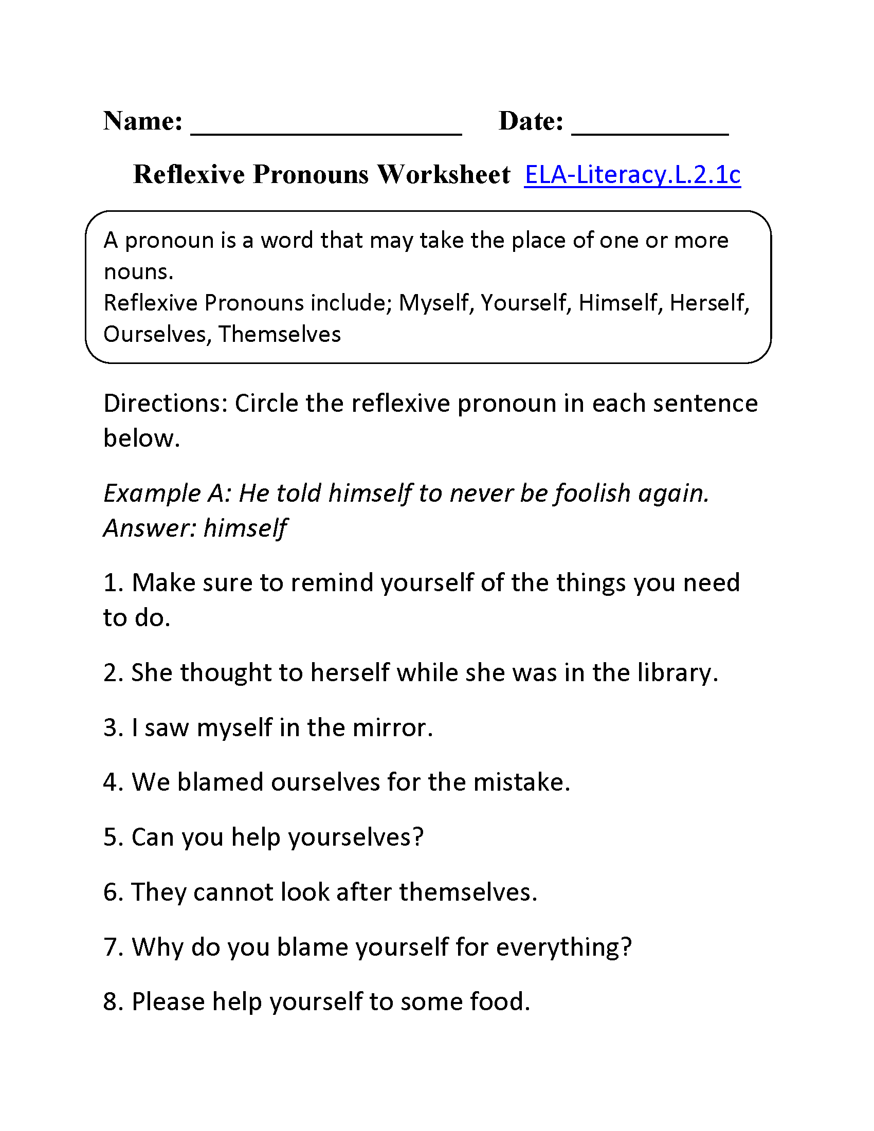 Worksheets Reflexive Pronouns Worksheets 2nd grade common core language worksheets reflexive pronouns worksheet 1 ela literacy l 2 1c worksheet