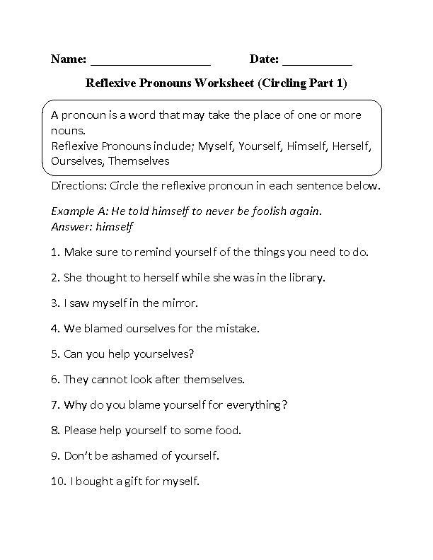 Pronouns Worksheets – Demonstrative Adjectives Worksheets