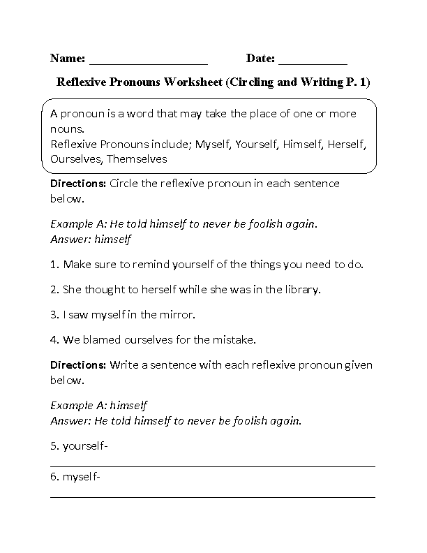 Worksheets Reflexive And Intensive Pronouns Worksheet pronouns worksheets reflexive worksheet