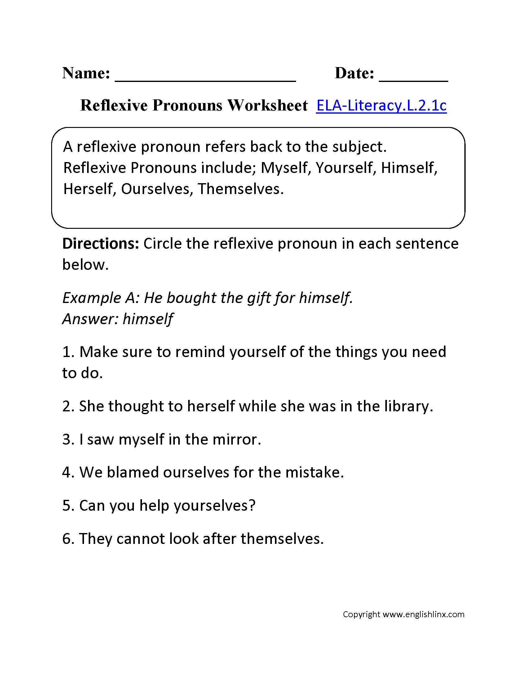 worksheet Reflexive Pronoun Worksheets 2nd grade common core language worksheets reflexive pronouns worksheet 2 ela literacy l 1c worksheet
