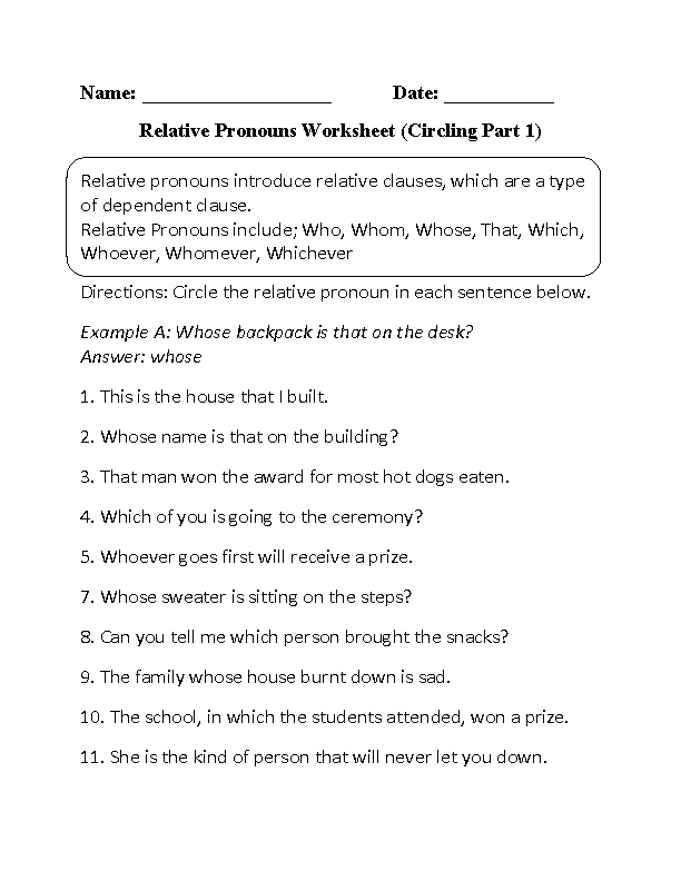 Printables Pronoun Worksheets High School englishlinx com pronouns worksheets relative worksheets
