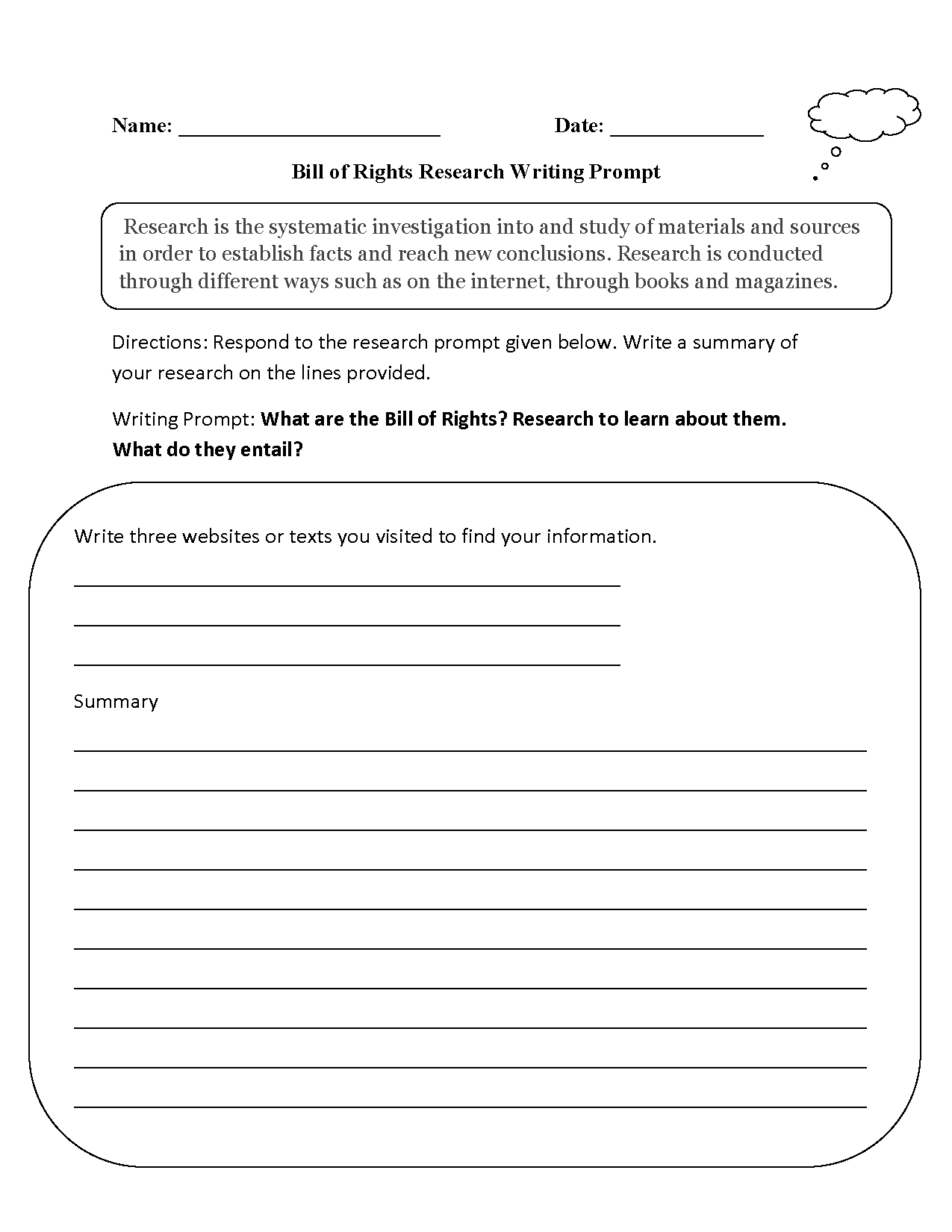 Writing Prompts Worksheets – Bill of Rights Worksheets
