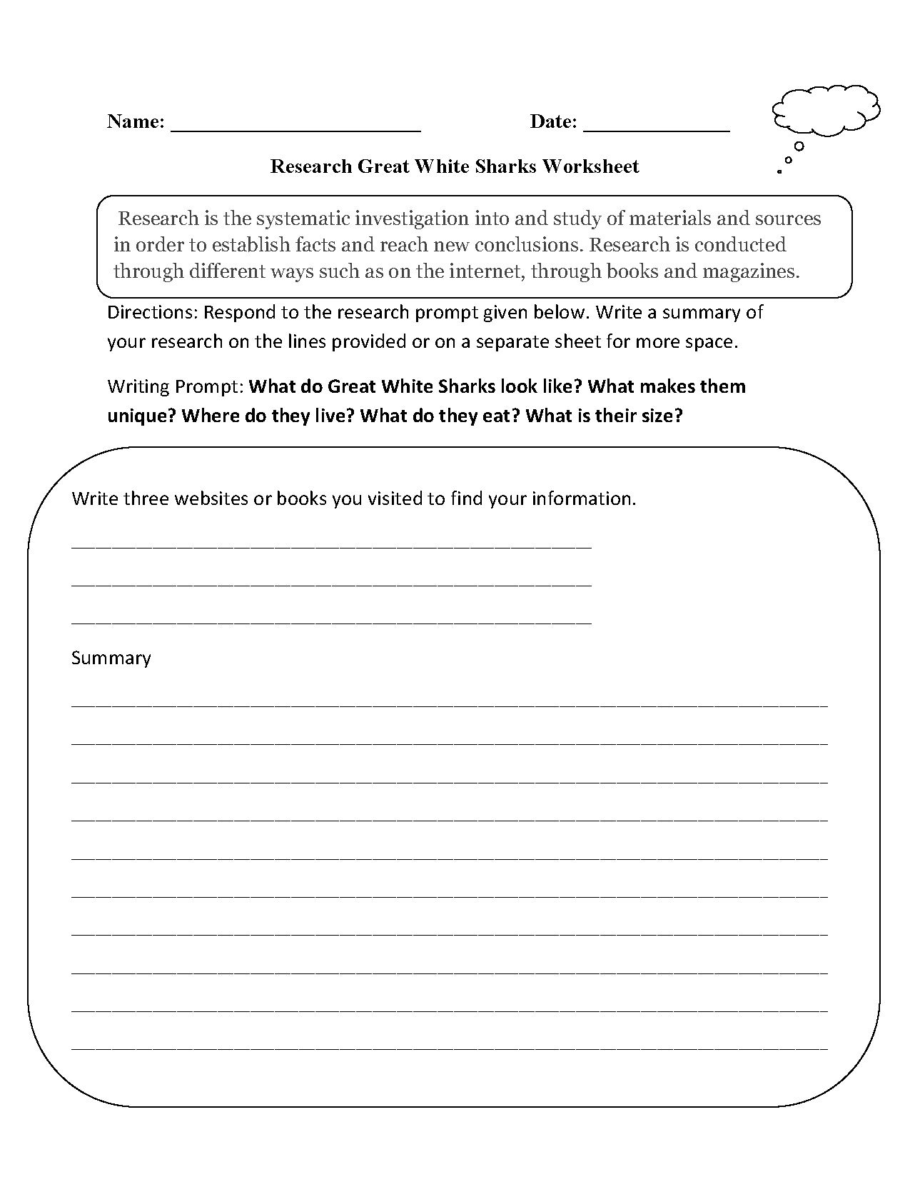 Research Worksheets – Shark Worksheets