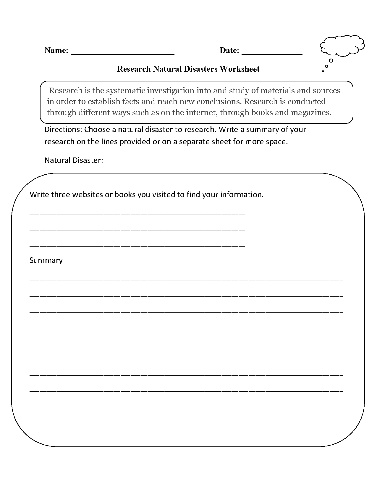 Research Worksheets – Natural Disasters Worksheets