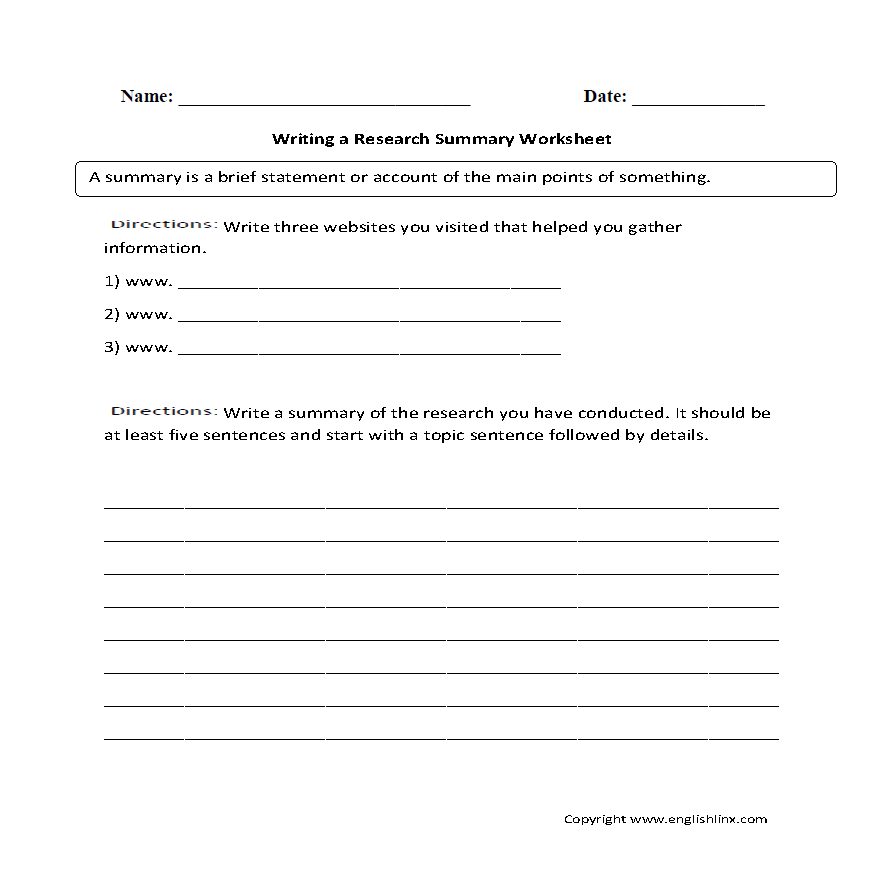 writing a summary worksheet This is a set of three lessons that i have made to help students improve their skills in writing writing a summary lessons worksheet doc, 628 kb.