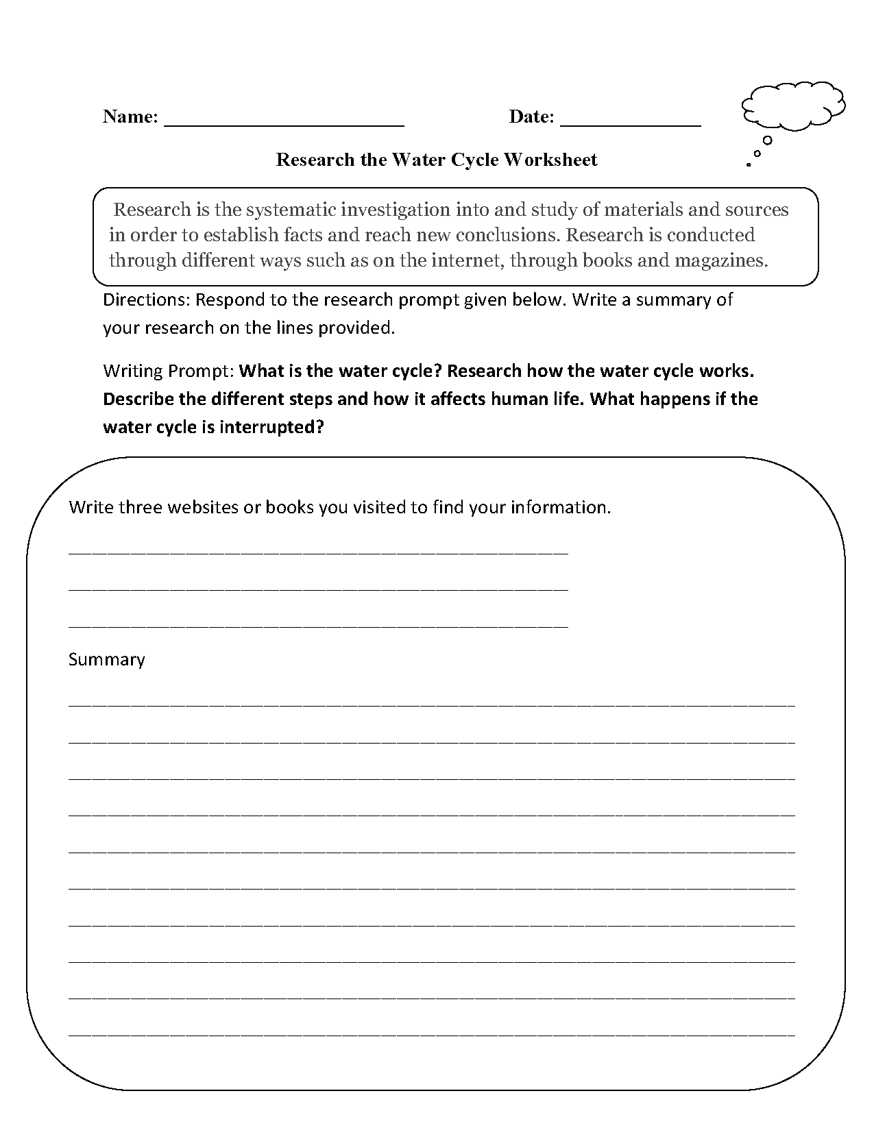 Worksheets Water Cycle Worksheet research worksheets the water cycle worksheet worksheet