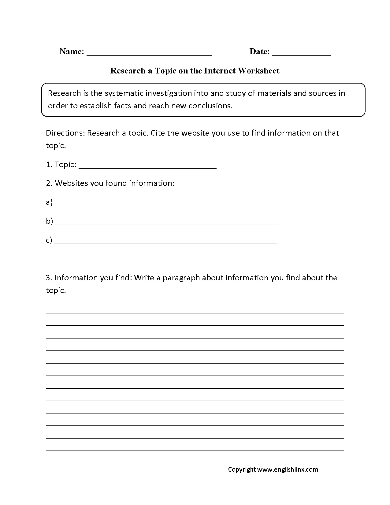 Research Worksheets | Research a Topic on the Internet Worksheet