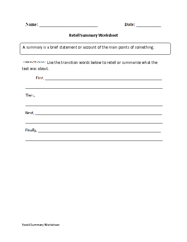 Retell Worksheet First Grade Worksheets for all | Download and ...