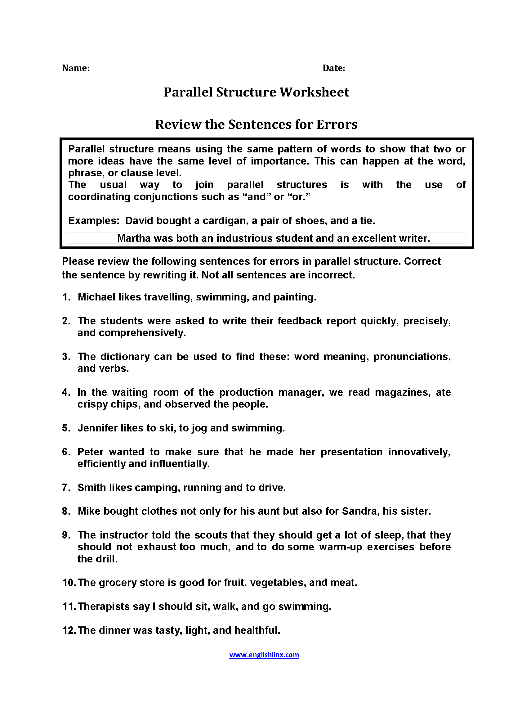 Worksheets Improving Sentence Structure Worksheets englishlinx com parallel structure worksheets review sentences for errors worksheets