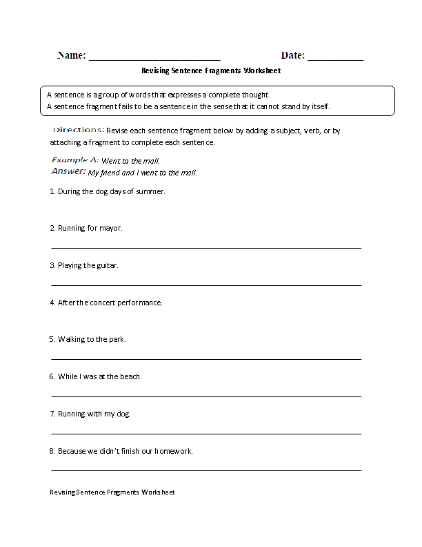 Printable Worksheets fragments and run-on sentences worksheets : Englishlinx.com | Sentence Fragments Worksheets