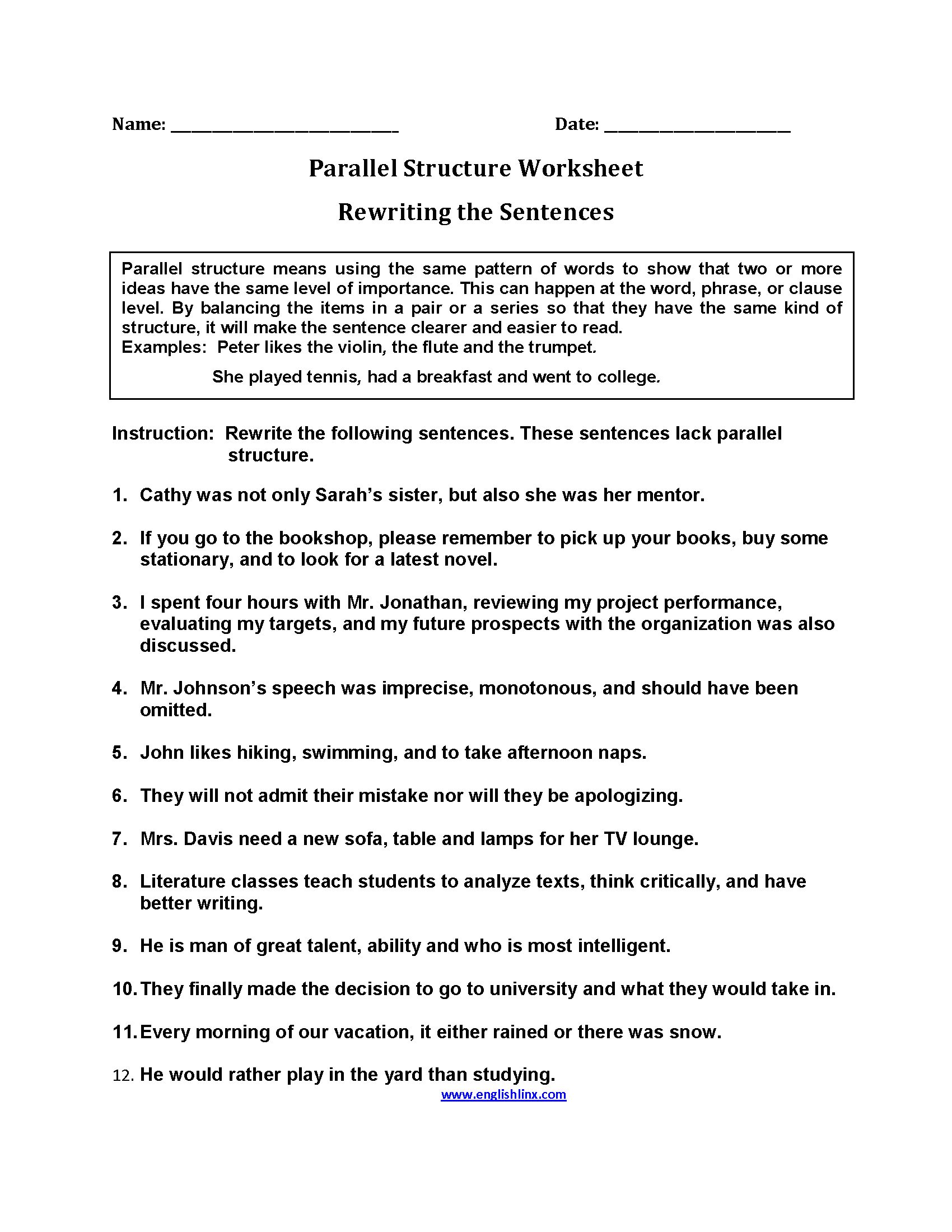 Parallel Structure Worksheets | Rewriting Sentences Parallel ...