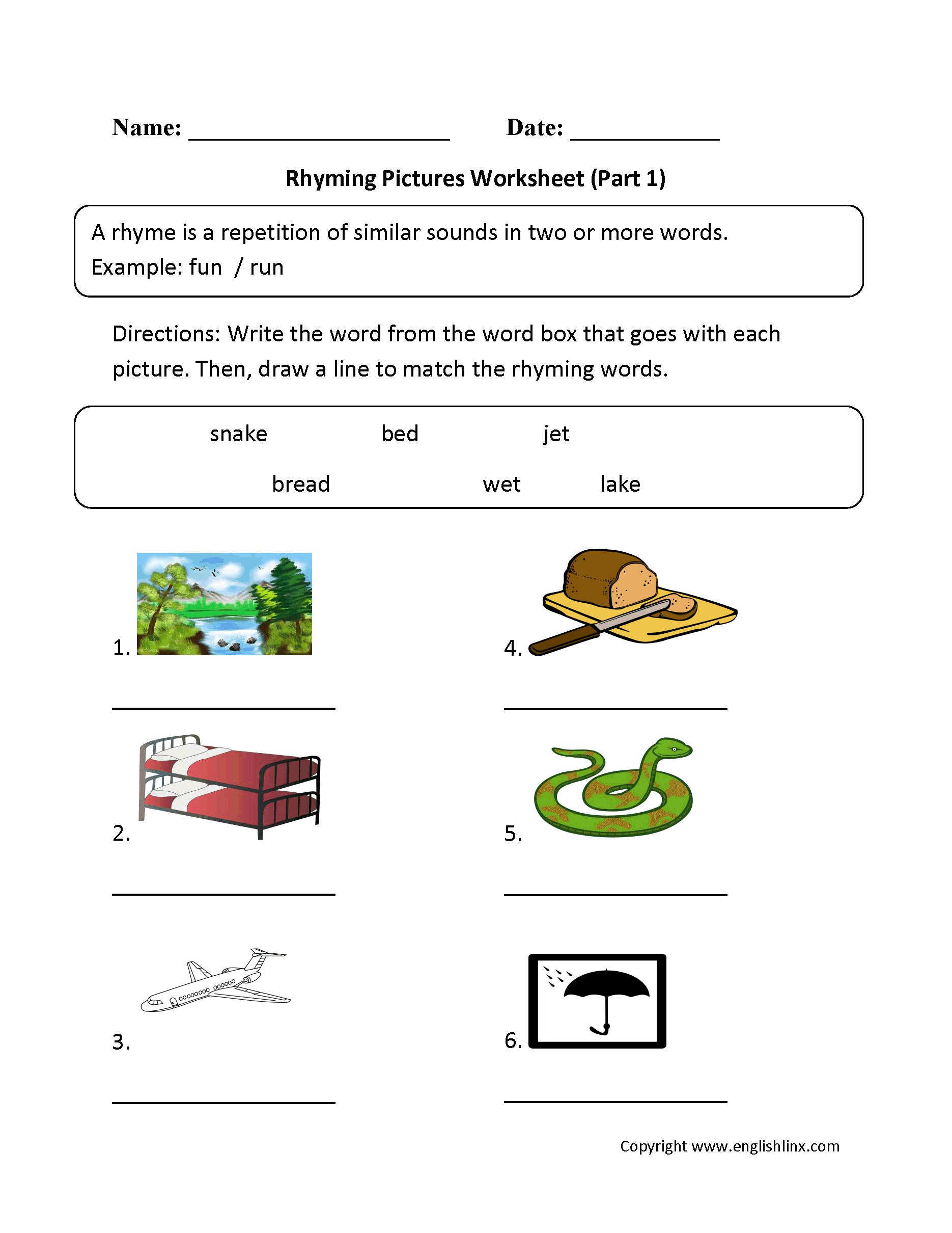 Englishlinx – Rhyming Worksheets Kindergarten Free