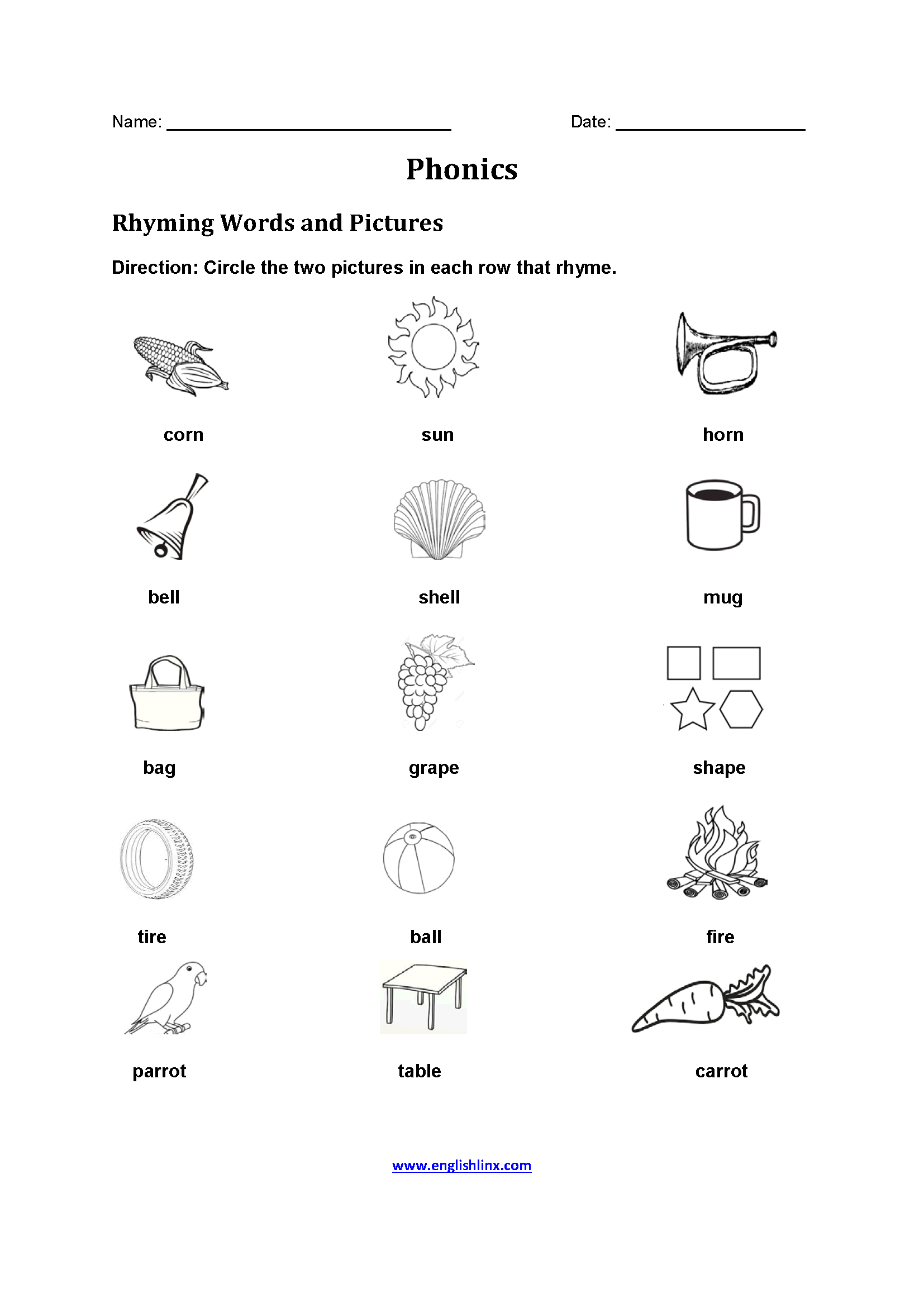 Rhyming Words Phonics Worksheets