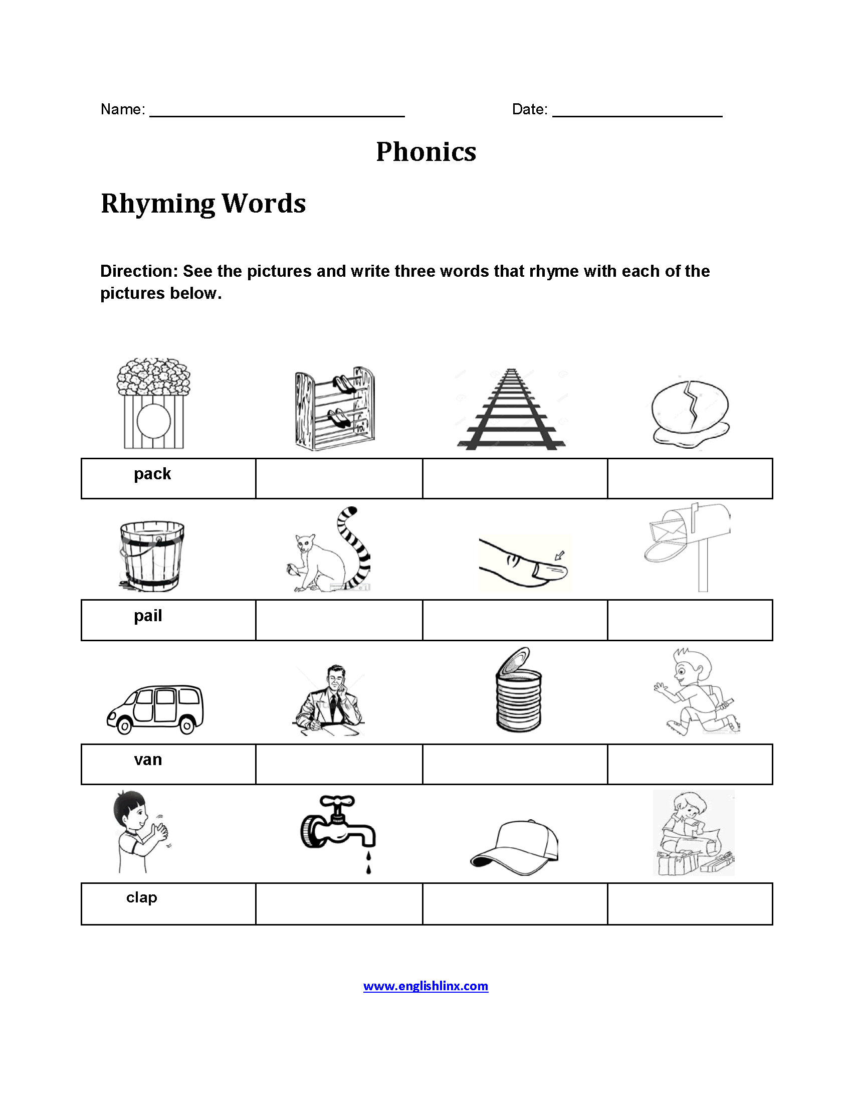 Rhyming Words Pictures Phonics Worksheets