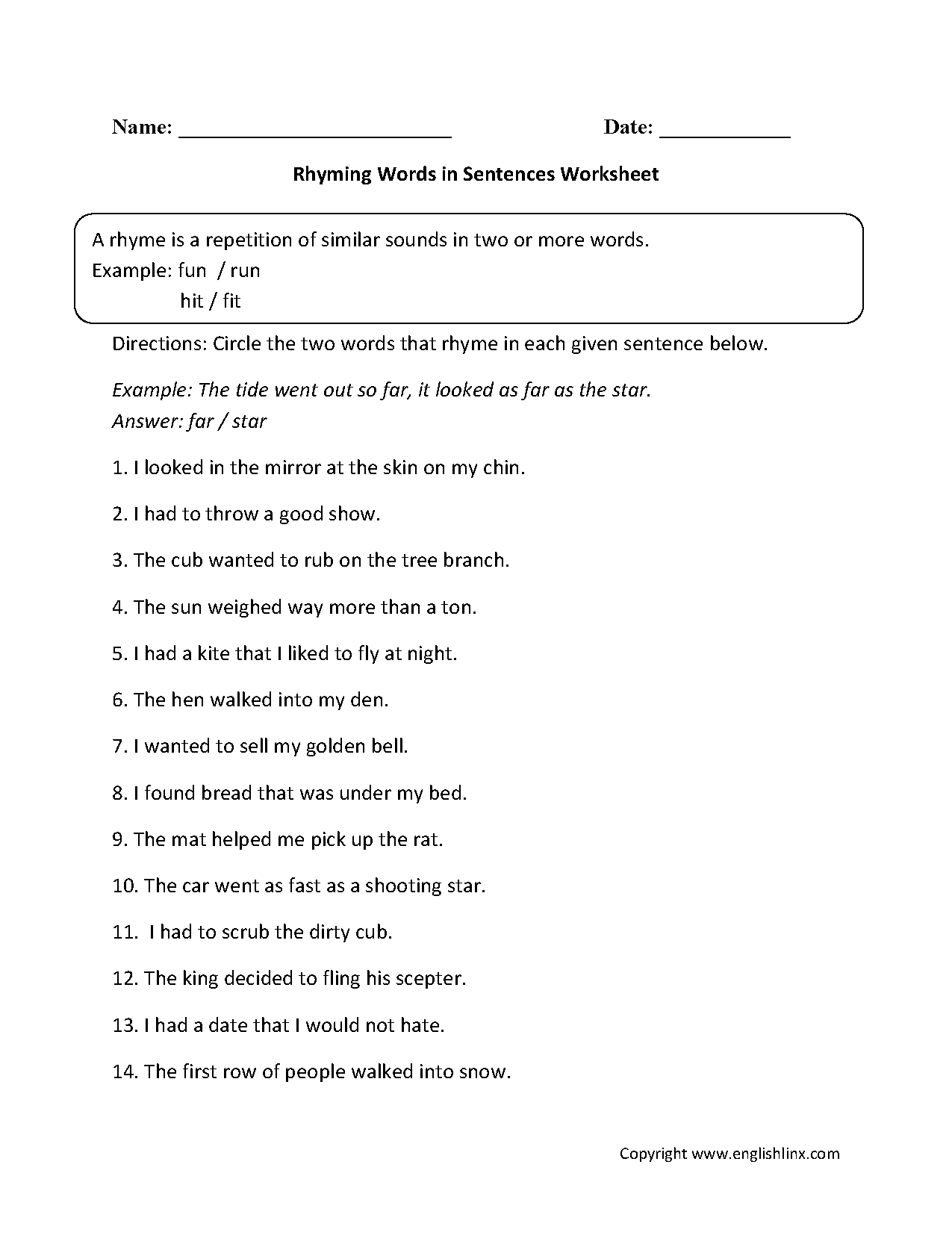 Worksheets Example Of Rhyming Words In Sentence englishlinx com rhyming worksheets words in sentences worksheet