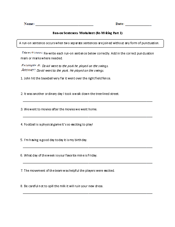 Run On Sentences Worksheet