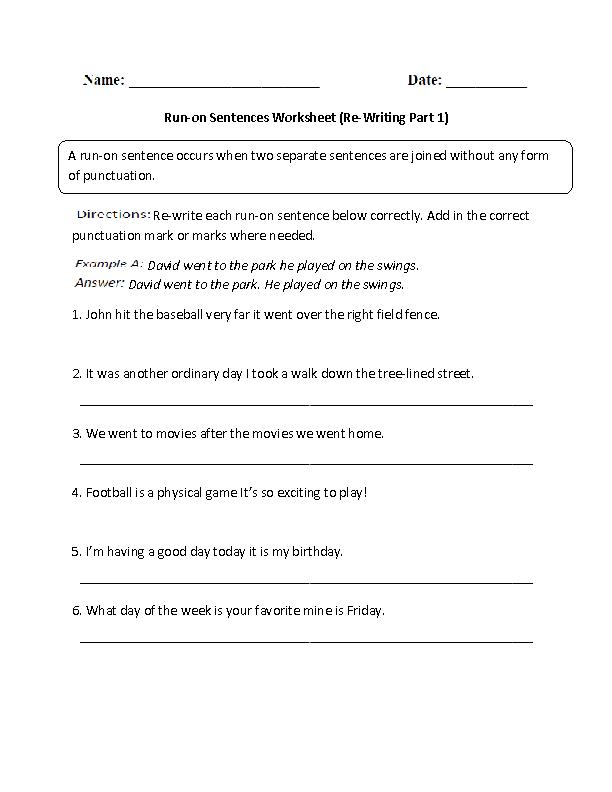 Sentences Worksheets   Run on Sentences Worksheets