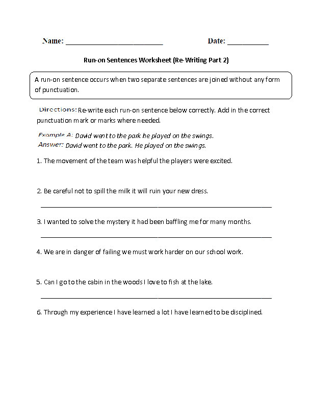 Worksheets 2nd Grade Sentence Worksheets sentences worksheets run on worksheet part 2