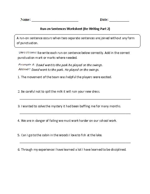 Printable Worksheets printable grade 2 worksheets : Sentences Worksheets | Run on Sentences Worksheets