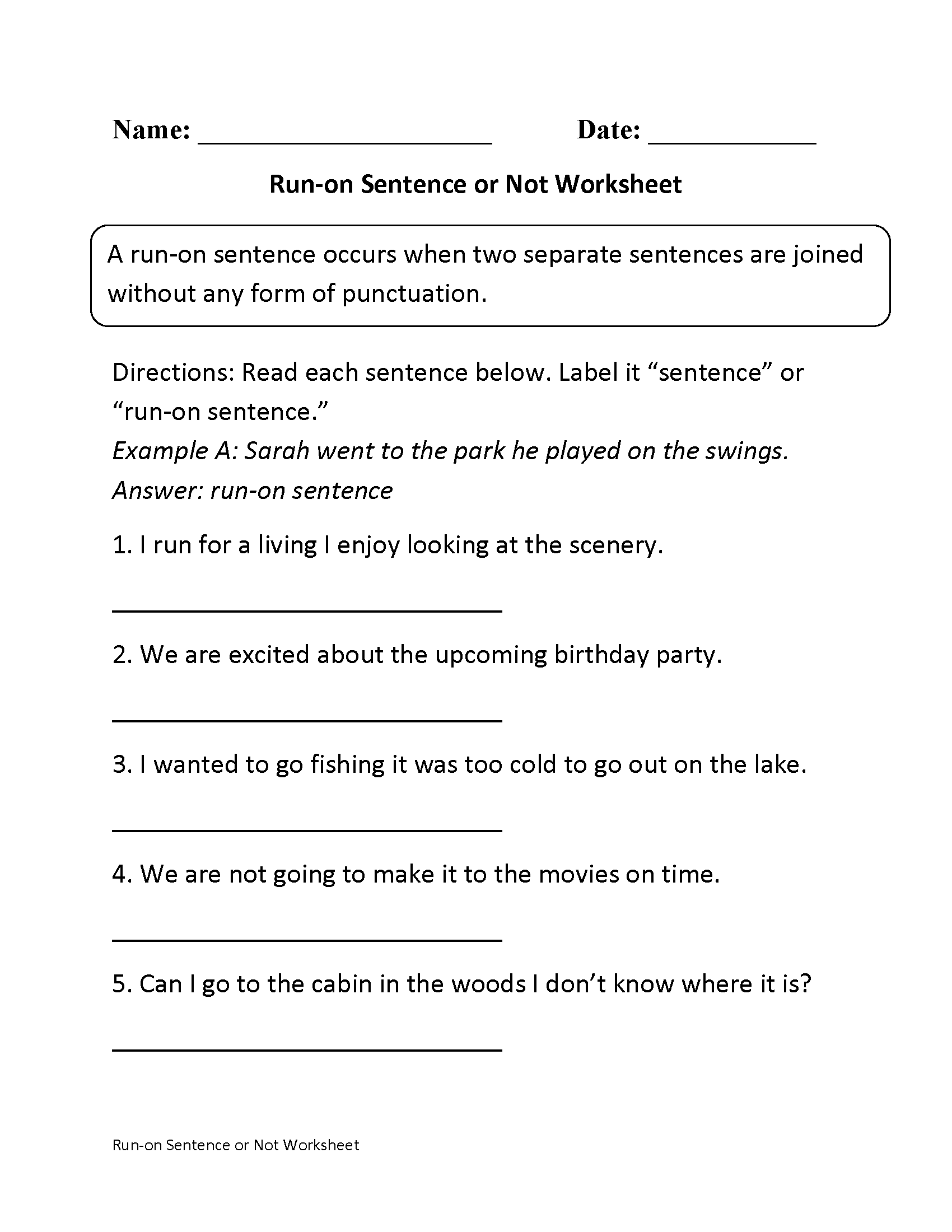 {Sentences Worksheets – Run on Sentences Worksheet