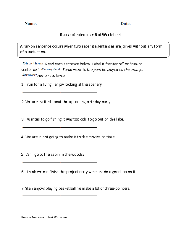 Run on Sentences Worksheets – Run on Sentences Worksheet
