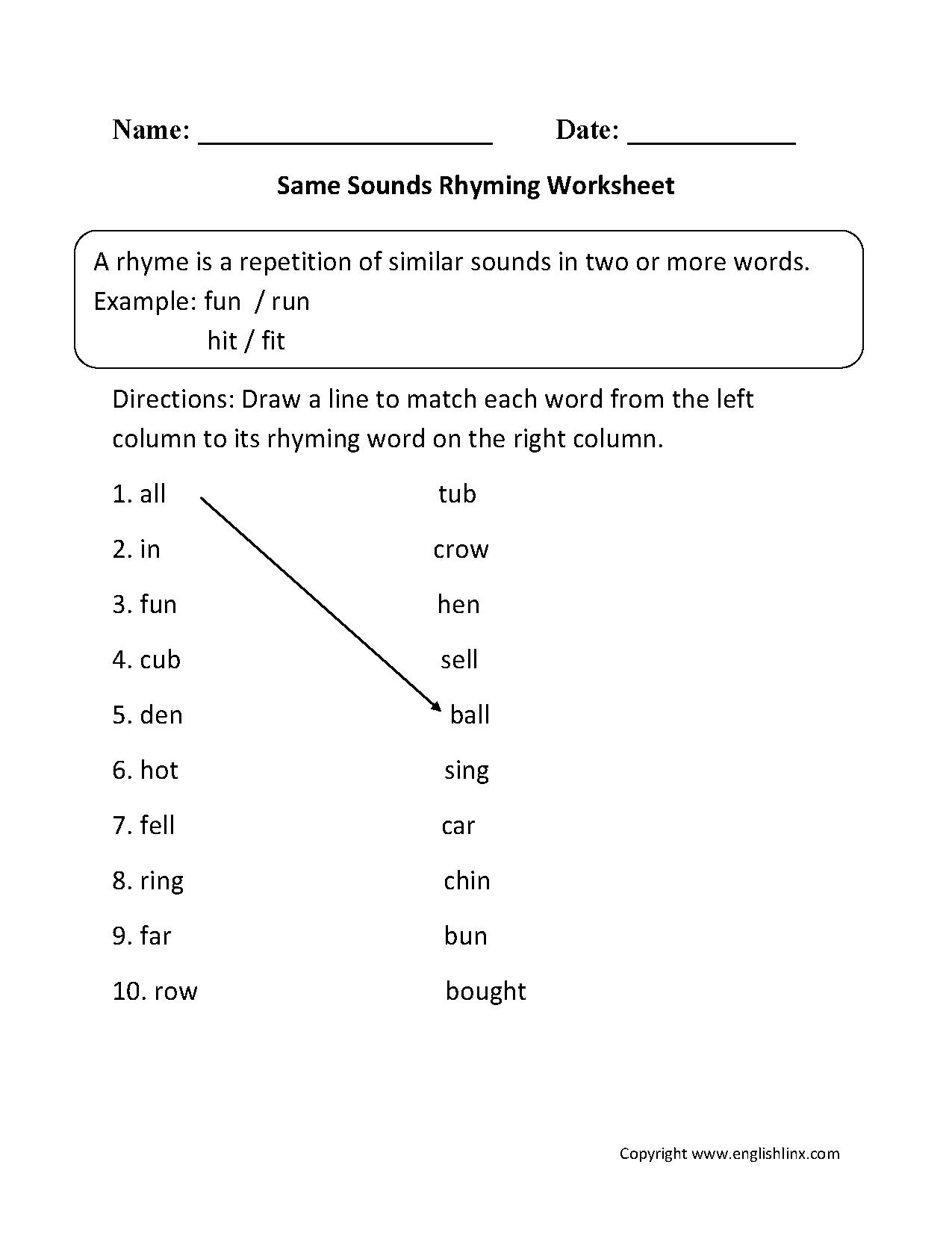 Englishlinx.com   Rhyming Worksheets