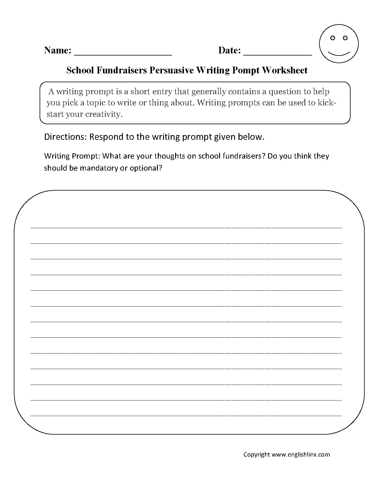 Writing Prompts Worksheets Persuasive Writing Prompts Worksheets