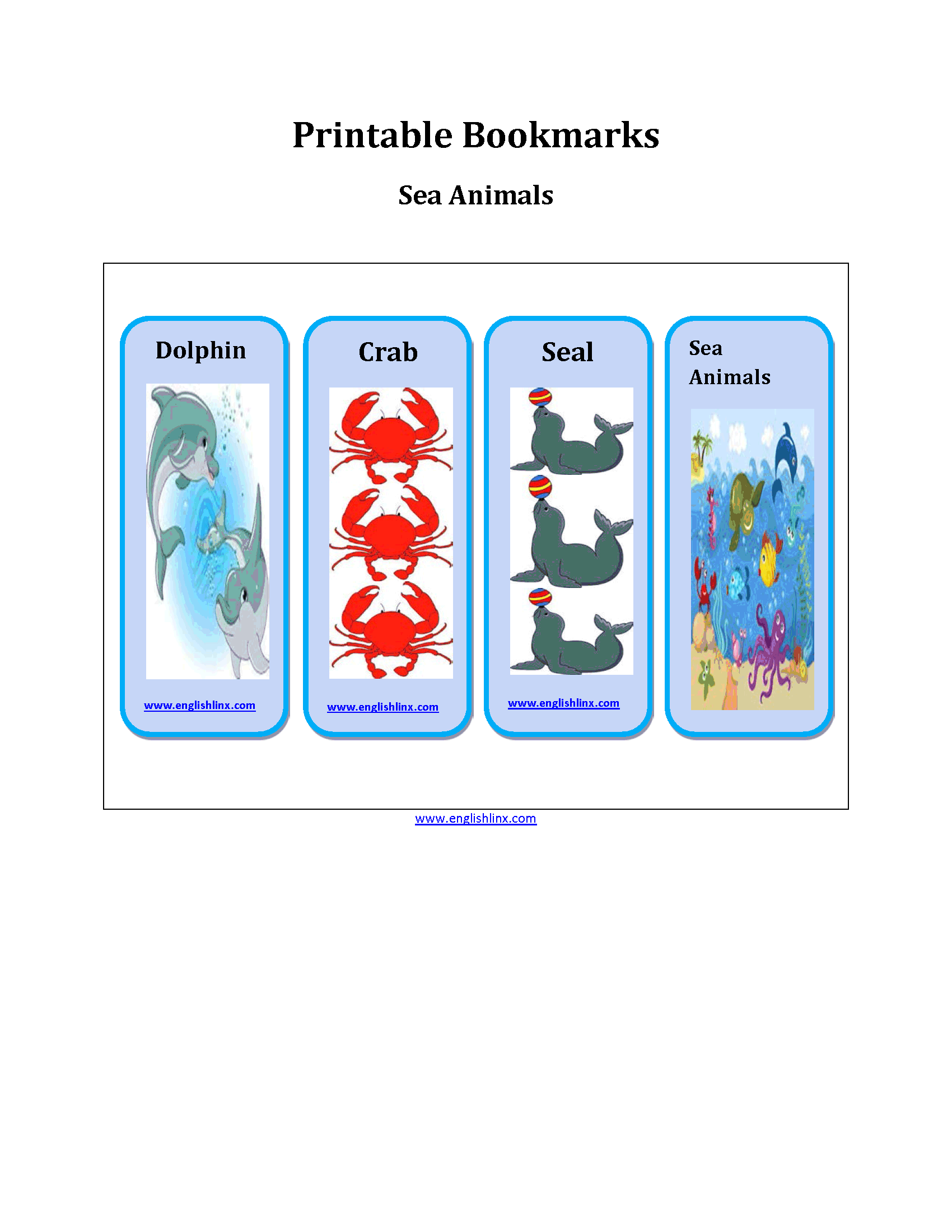 Sea Animals Printable Bookmarks Worksheets