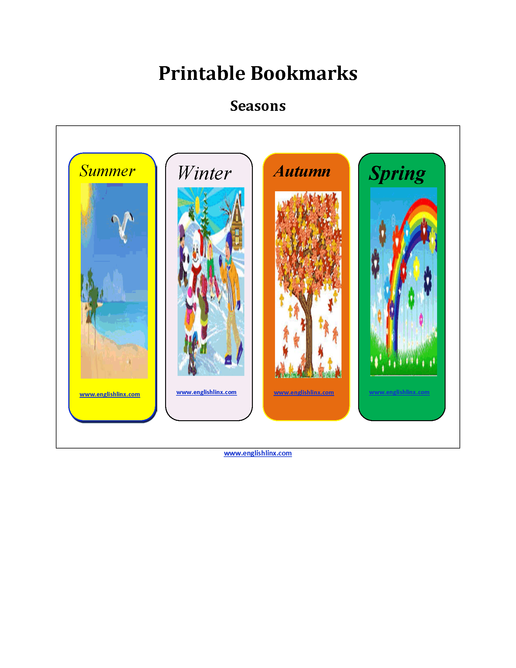 Seasons Printable Bookmarks Worksheets