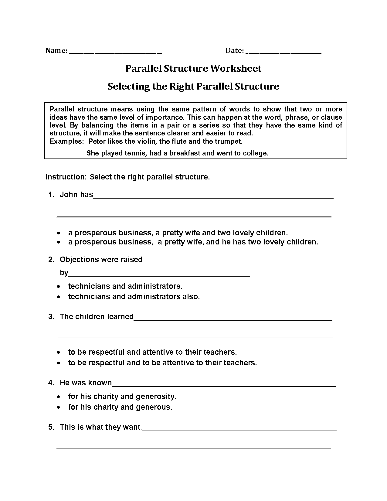 Parallel Structure Worksheets | Selecting Right Parallel Structure ...