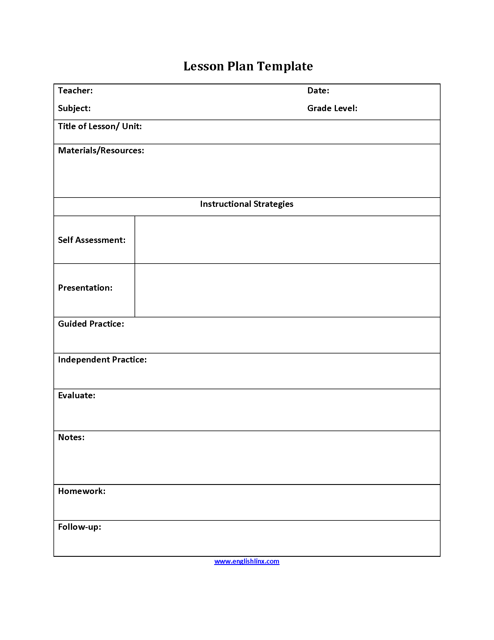Self Assessment Lesson Plan Template