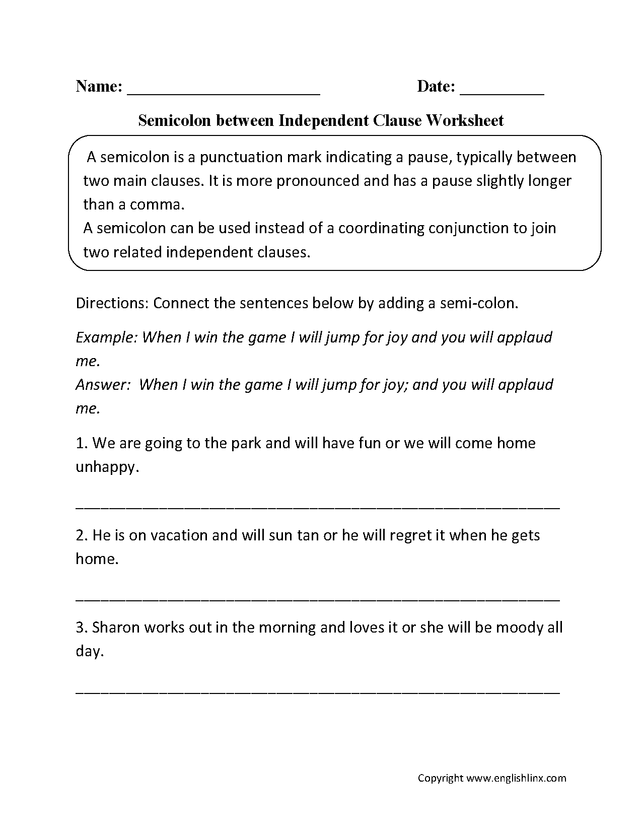 Punctuation Worksheets | Semicolon Worksheets