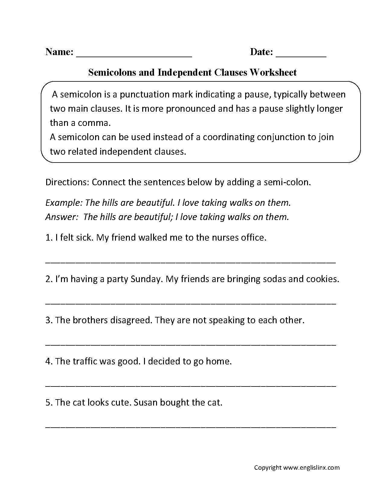 Worksheets Independent Clause Worksheet punctuation worksheets semicolon and independent clause worksheet