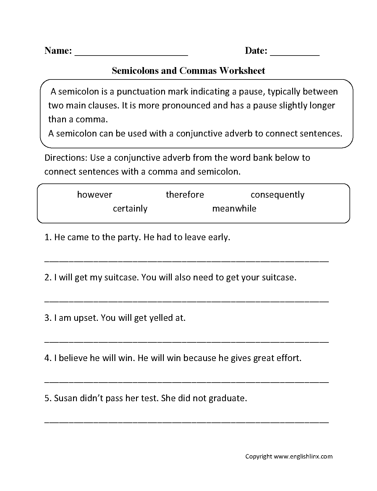 Punctuation Worksheets | Semicolon Worksheets