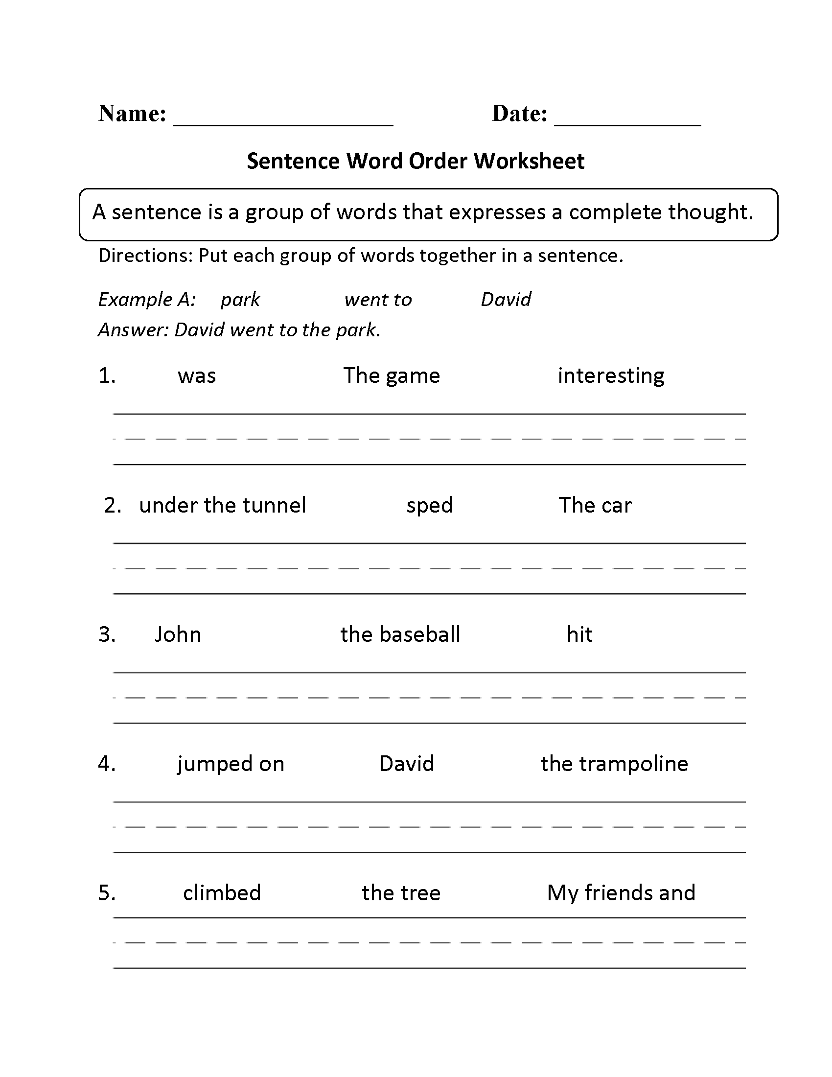 Sentence Structure Worksheets – Complete Sentence Worksheet