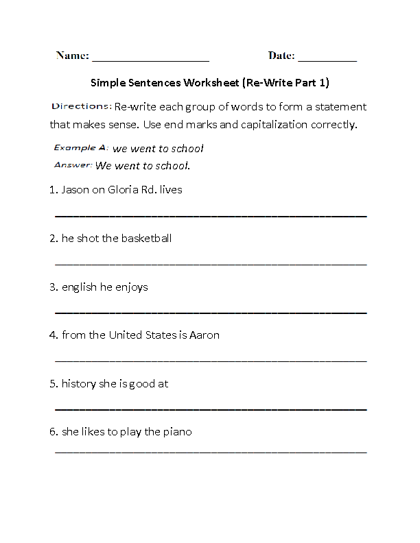Sentences Worksheets Simple Sentences Worksheets