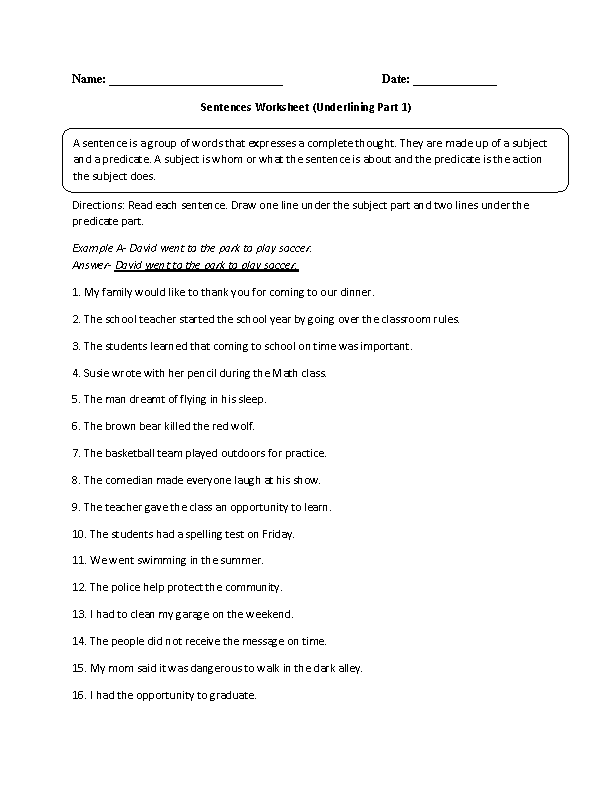 Sentences Worksheets – Complete Sentence Worksheet