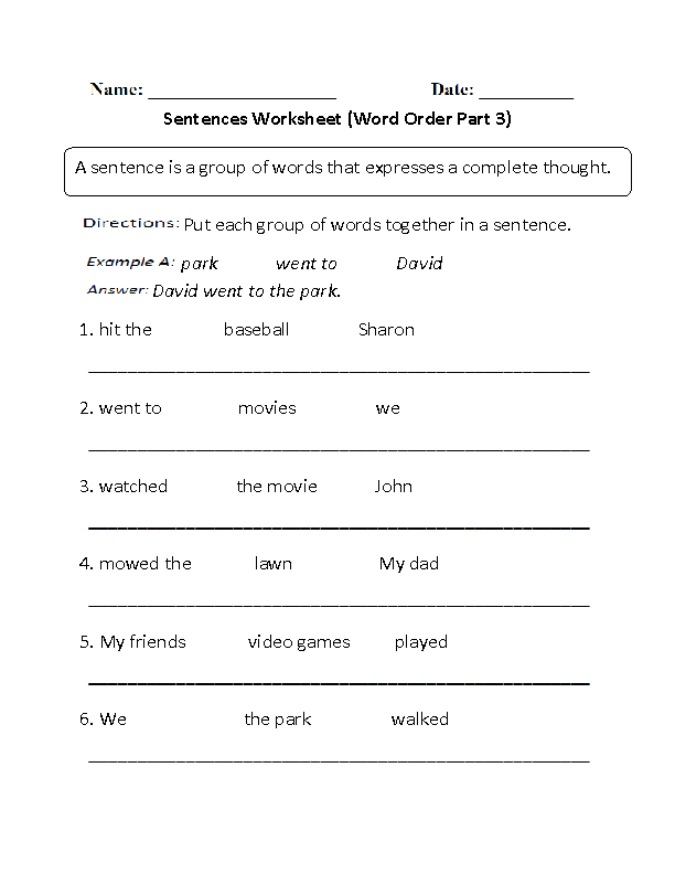 Sentences Worksheets – Simple Sentence Worksheet