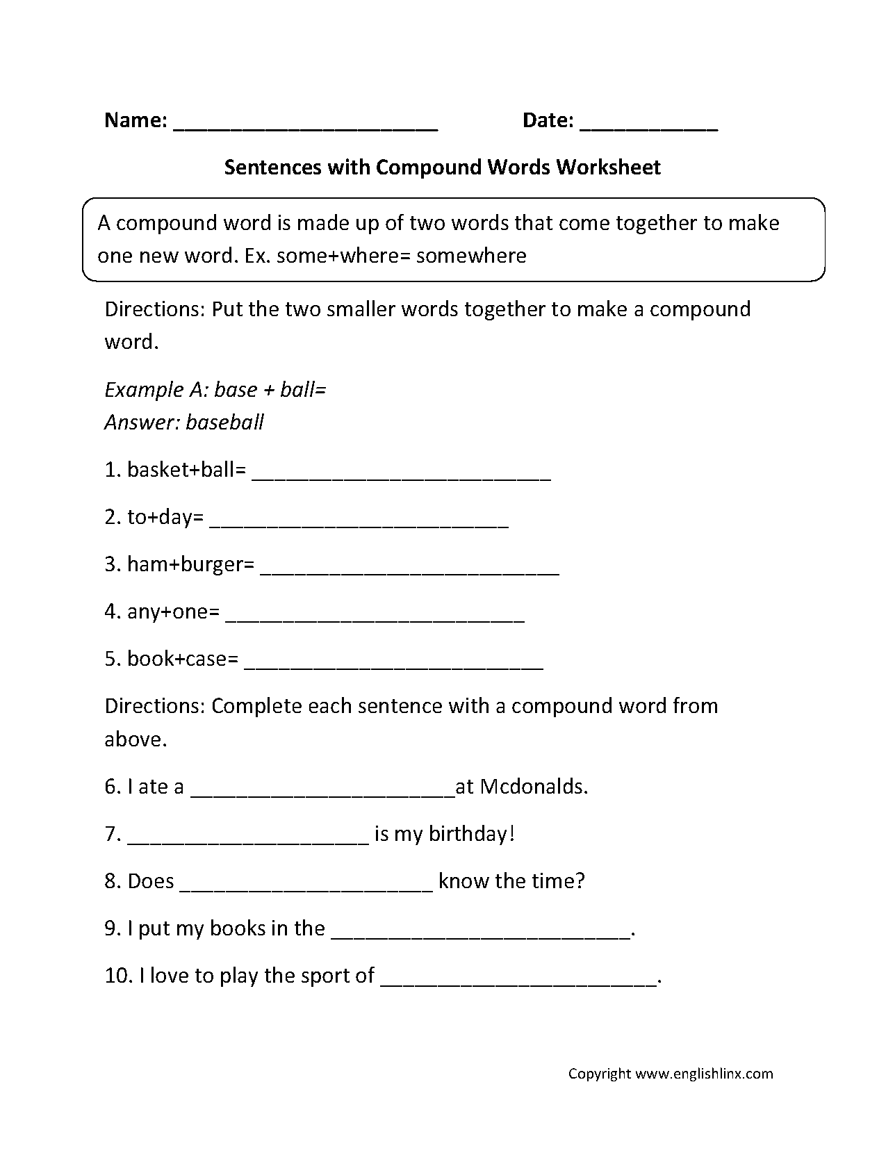 Worksheets Example Of Rhyming Words In Sentence englishlinx com compound words worksheets sentences with worksheets