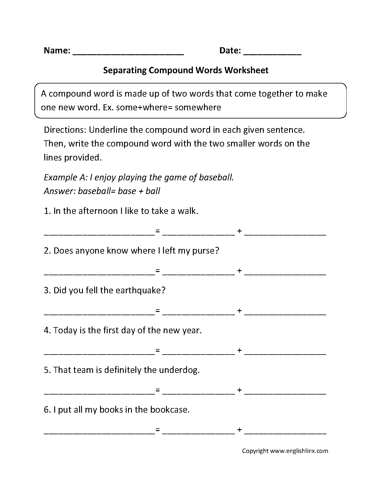 Printables Compound Words Worksheets englishlinx com compound words worksheets separating worksheets