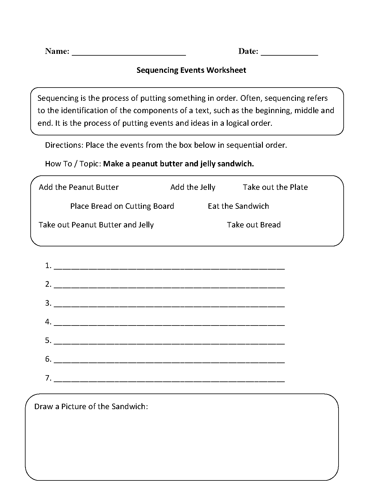 Writing Worksheets – Sequence of Events Worksheet